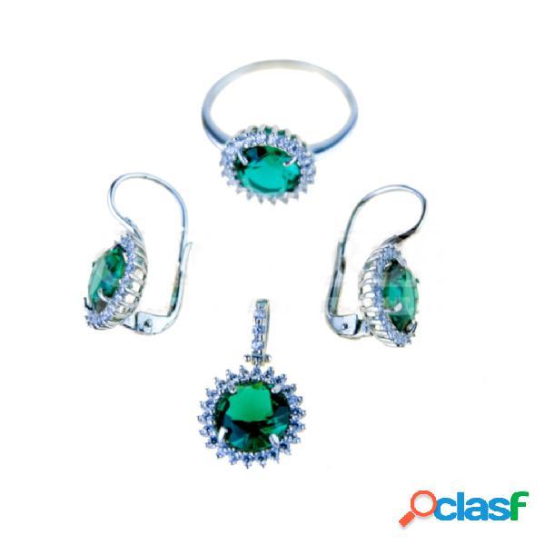 Parure orecchini, ciondolo ed anello con pietra tonda verde mod.p2894b
