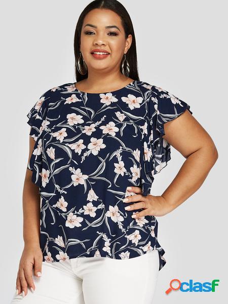 Yoins plus camicetta con bordo arricciato con stampa floreale blu navy taglia