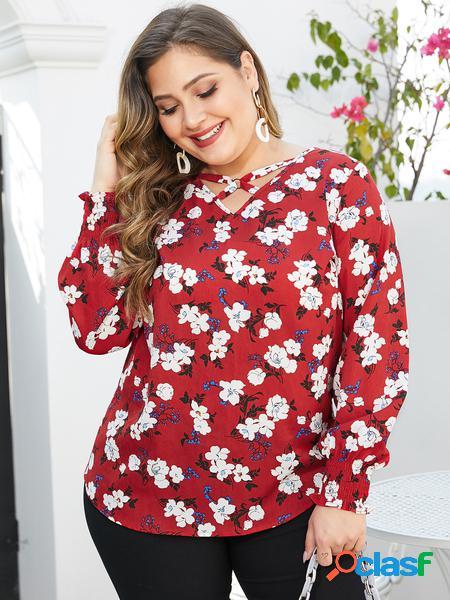 Yoins plus camicetta casuale con scollo a v con stampa floreale rossa taglia
