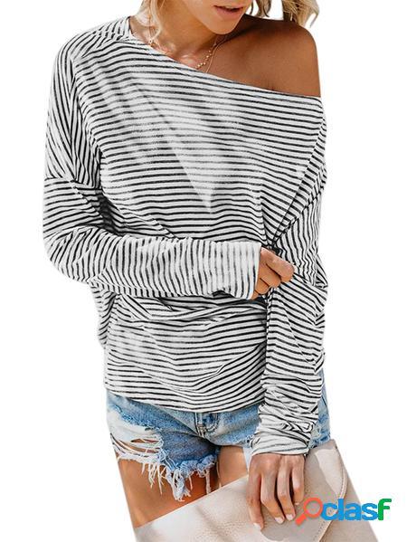 Yoins T-shirt a maniche lunghe a righe One