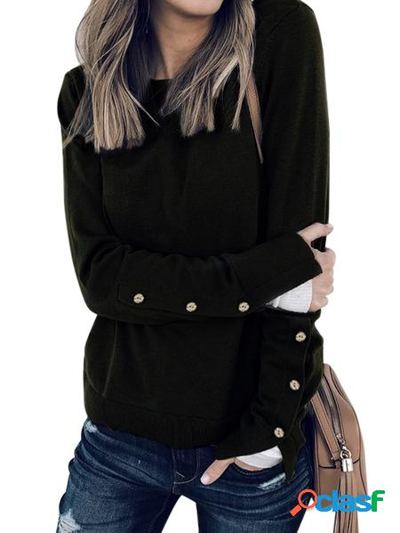 Yoins T-shirt a maniche lunghe Collo T-shirt a maniche lunghe con design a bottoni neri