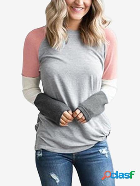 Yoins T-shirt con motivo a nodo rotondo Collo a righe grigie