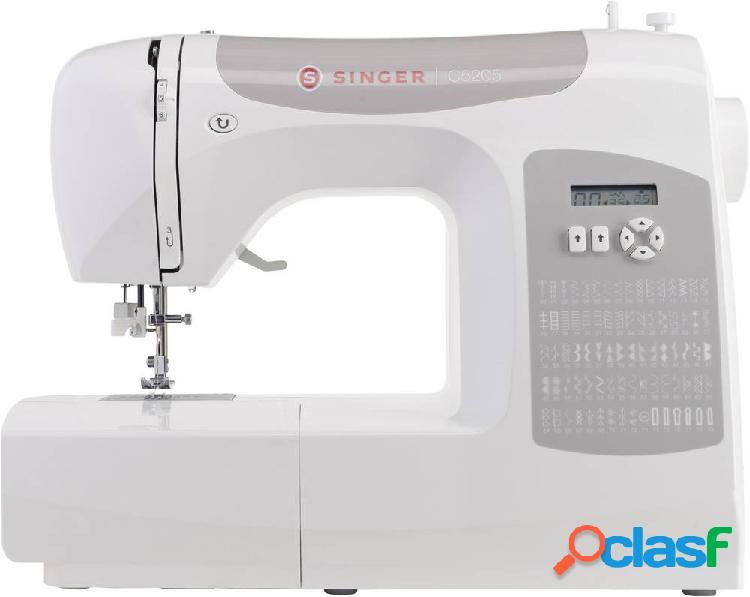 Singer macchina per cucire a braccio libero c5205 luce led, con display, con tavolo allungabile bianco, grigio