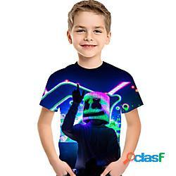 Bambino bambino (1-4 anni) da ragazzo maglietta t-shirt manica corta arcobaleno fantasia geometrica 3d con stampe bambini giornata universale dell'infanzia estate top attivo essenziale arcoba