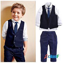 Bambino bambino (1-4 anni) da ragazzo completo e giacca gilet tinta unita manica lunga 4 pezzi con perline formale graduazione blu marino attivo standard 2-6 anni lightinthebox