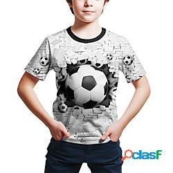 Bambino bambino (1-4 anni) da ragazzo maglietta t-shirt manica corta fantasia geometrica 3d con stampe bambini giornata universale dell'infanzia estate top attivo moda città bianco viola ross