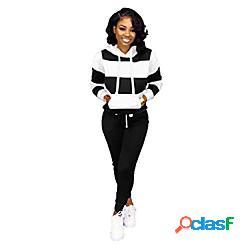 Set tuta sportiva da donna 2 pezzi felpa tuta sportiva felpe con cappuccio top e pantaloni jogger set abbigliamento sportivo nero lightinthebox