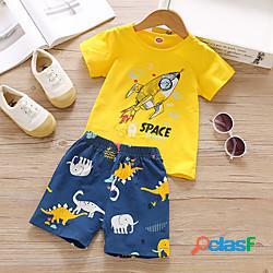 Bambino bambino (1-4 anni) da ragazzo completo cartoni animati manica corta con stampe da tutti i giorni giallo essenziale sopra il ginocchio, mini 2-6 anni miniinthebox