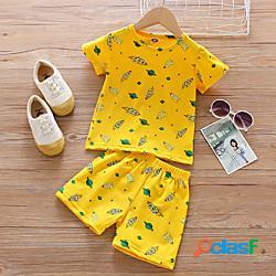 Bambino da ragazzo t-shirt e pantaloncini completo cartoni animati manica corta con stampe da tutti i giorni giallo essenziale sopra il ginocchio, mini 2-6 anni miniinthebox