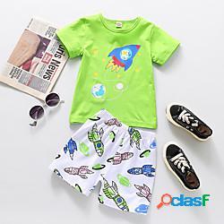 Bambino bambino (1-4 anni) da ragazzo t-shirt e pantaloncini completo cartoni animati manica corta con stampe da tutti i giorni verde essenziale sopra il ginocchio, mini 2-6 anni miniinthebox