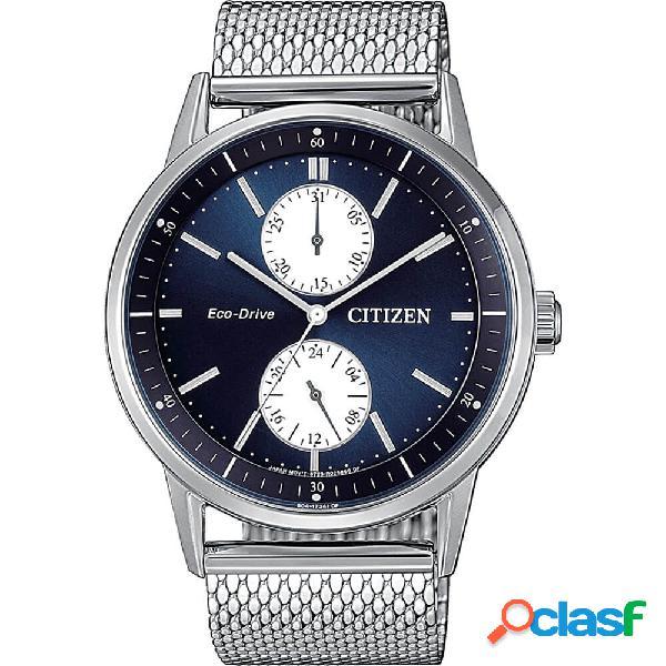 Orologio citizen eco drive multifunzione in acciaio - metropolitan - bu3020-82l