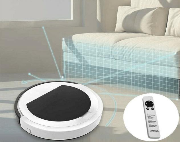 Robot aspirapolvere casa con sensore