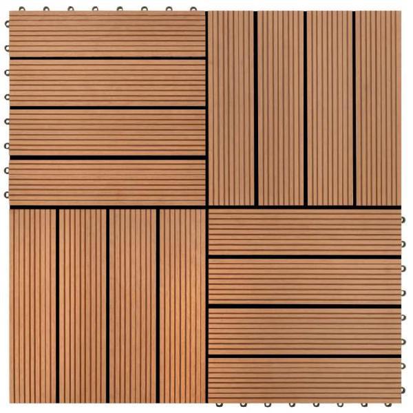 Vidaxl set piastrelle wpc 30x30cm 11pz per 1,00m² marrone