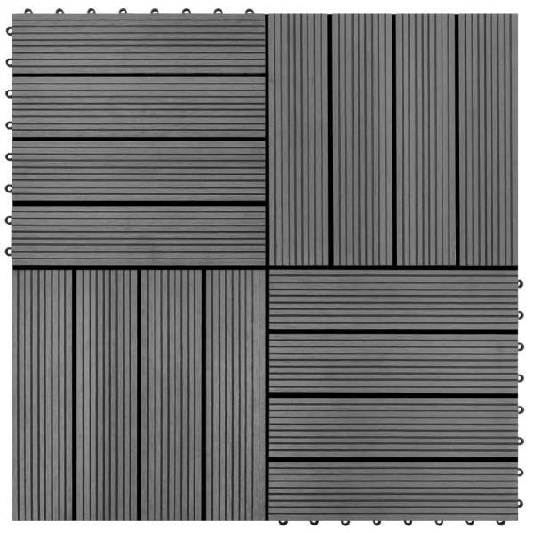 Vidaxl set piastrelle wpc 30x30cm 11pz per 1,00m²grigio