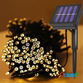 12m 100leds solar string light waterproof led fairy light string outdoor garden wedding christmas holiday decoration