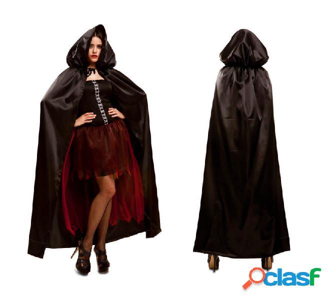 Mantello nero con cappuccio per le donne