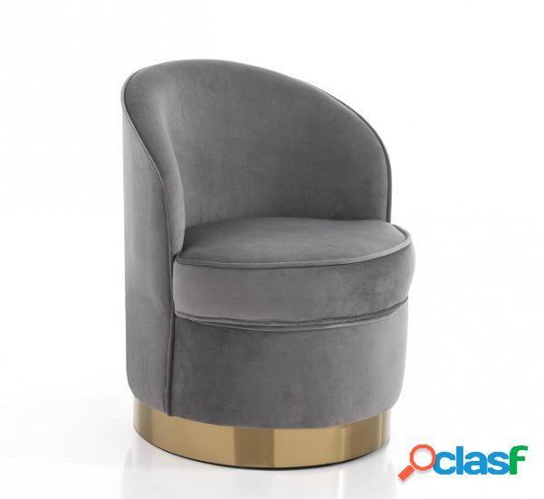 Poltrona da camera circolare velvet grey e fascia oro