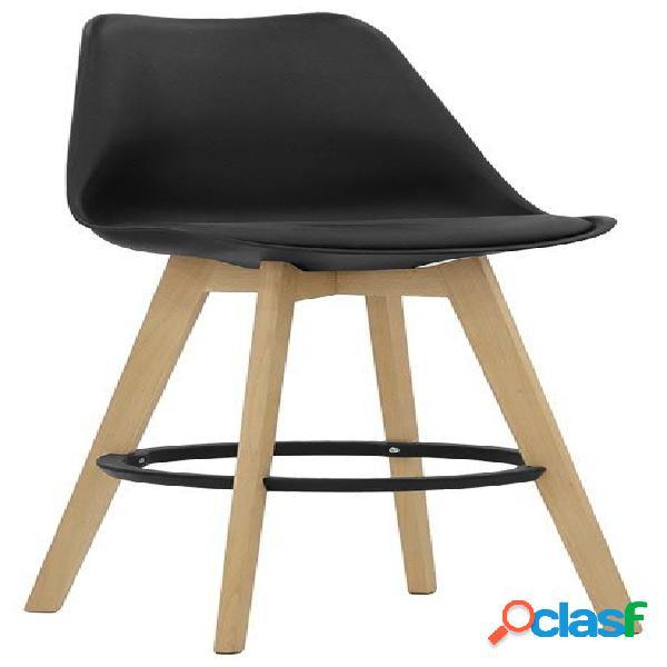 Sgabello ghibli con struttura in legno di quercia, scocca in polipropilene e seduta in ecopelle