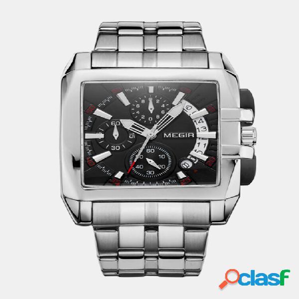 Sport all'aria aperta uomo watch cronografo con cinturino in acciaio inossidabile quadrato al quarzo watch