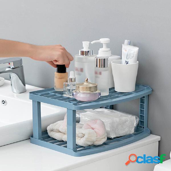 Scaffale da bagno da cucina scaffale di stoccaggio in plastica scaffale da tavolo scaffale da tavolo archiviazione cosme