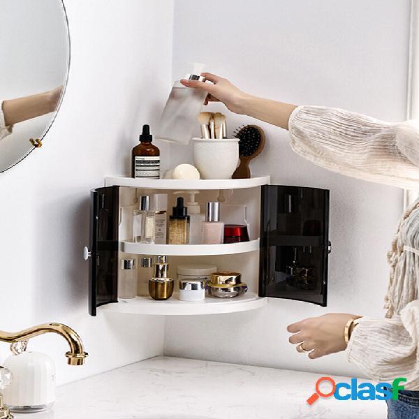 Multifunzione 2/3 ripiani ad angolo organizzatore porta rack mensole in plastica a parete cucina bagno