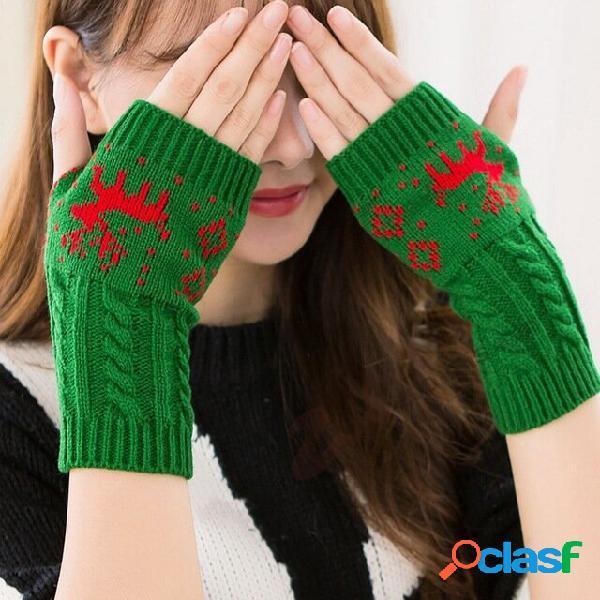 Mezzo dito lavorato a maglia che digita alci femminili caldi natale guanti