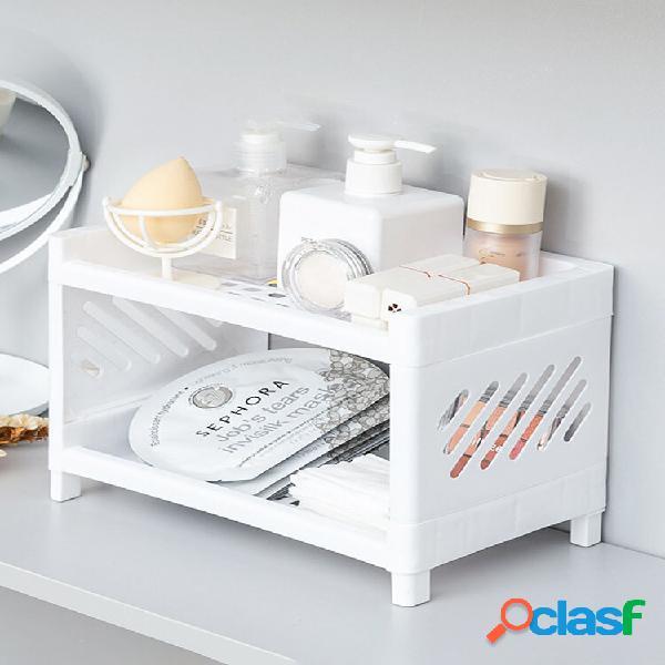 1pc scaffale portaoggetti per bagno da tavolo in plastica vuoto a doppio strato salvaspazio cosmetico organizzatore supp