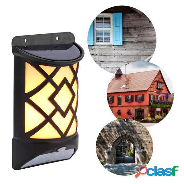 5w solar powered led flame effect luce controllata da parete pir motion sensor outdoor garden yard