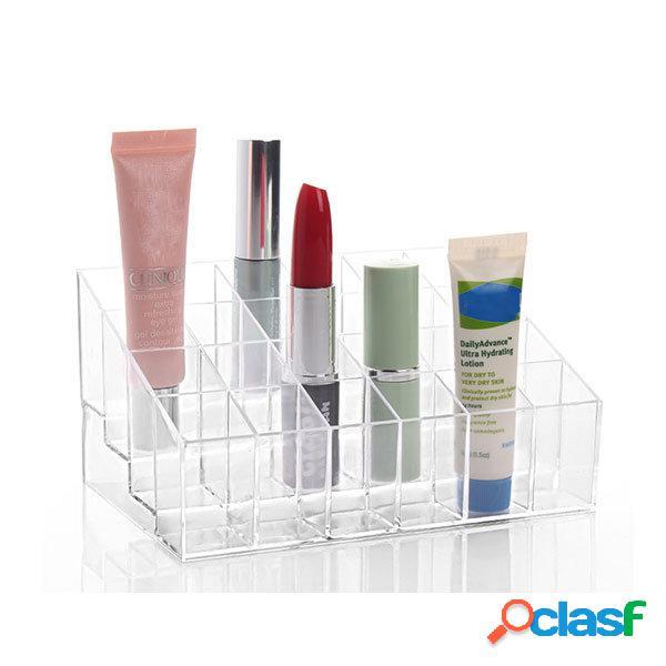 24 rossetto supporto display supporto acrilico trasparente trucco organizzatore varie custodie trasparenti