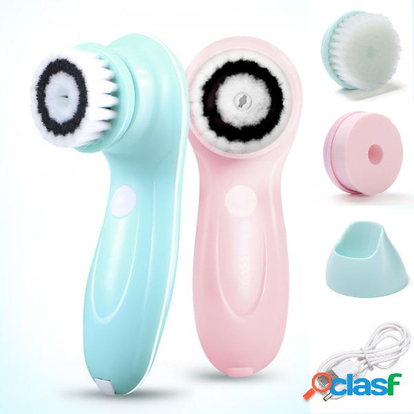 3 in 1 usb ricaricabile usb pulizia della spazzola per pulizia del viso rotazione della rotazione della cura del viso
