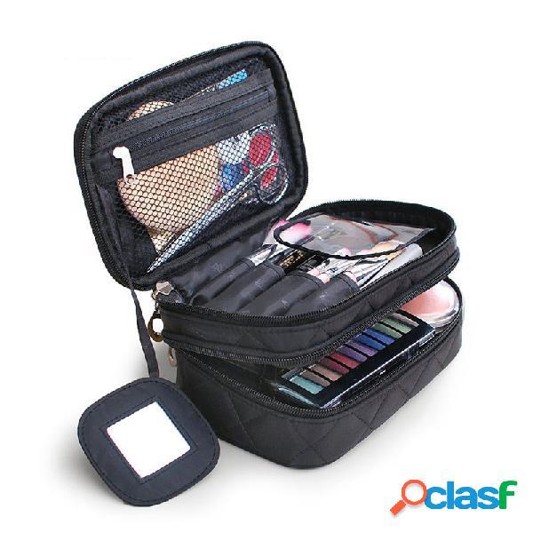 Honana hn-b63 grande doppio strato da viaggio cosmetico borsa portatile trucco organizzatore articoli da toeletta borsa
