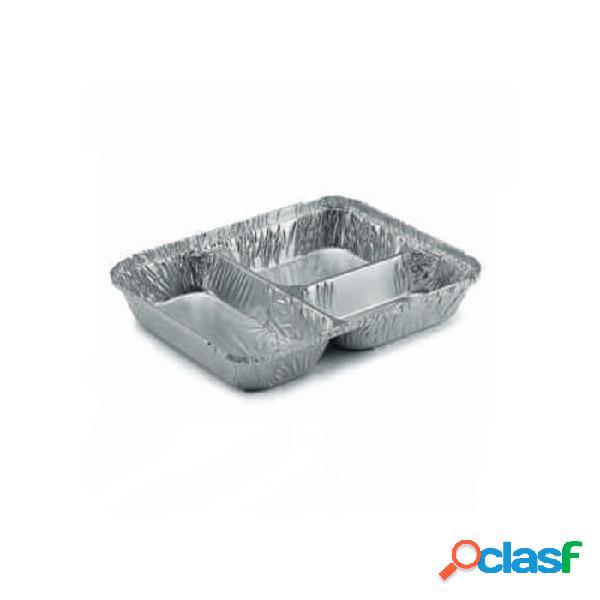 Contenitore rettangolare 3 scomparti monouso per alimenti in alluminio lt 0,81 - argento