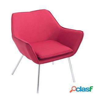 Poltroncina alice, design moderno, seduta imbottita in tessuto rosso
