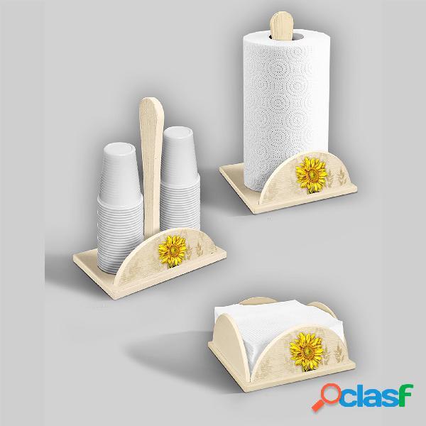 Set 3 pezzi porta bicchieri, portatovaglioli, porta scottex in legno decorato shabby sunflowers