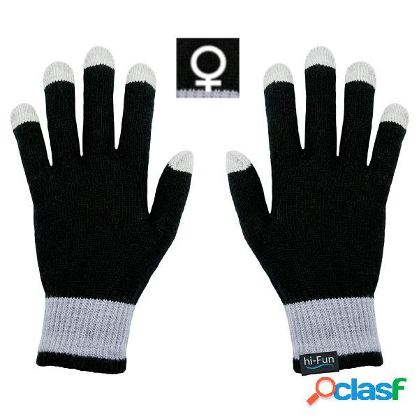 Guanti caldi donna per utilizzare per smarthphone tablet touch screen senza mai sfilarli con tessuto conduttivo sui polpastrelli colore neri
