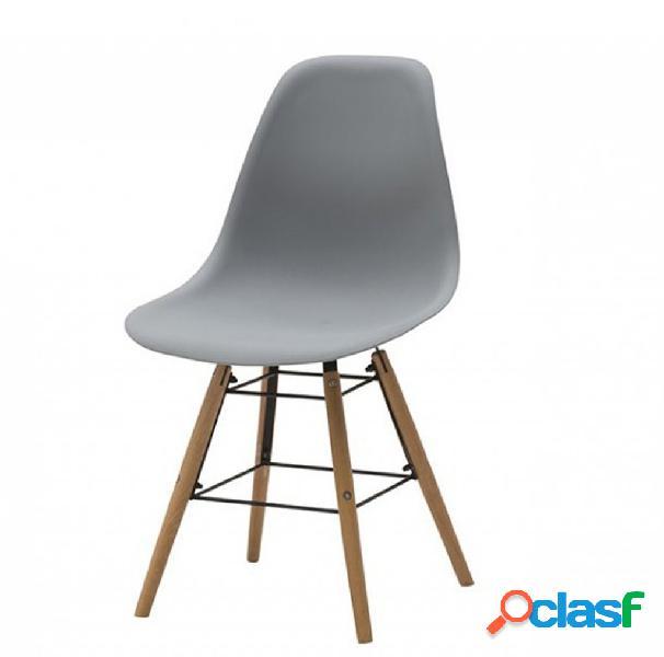 Set di due sedie dsw in polipropilene grigio e gambe in faggio