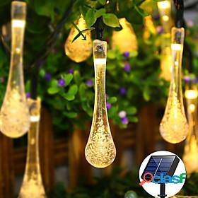 Outdoor waterproof solar waterdrop fairy string lights 7m 50leds decorative lamp christmas wedding outdoor garden patio lawn decoration