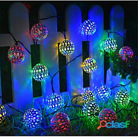 Solar string lights moroccan ball multicolor warm white white 50led 30 led 20led globe fairy string lights solar powered lantern for outdoor garden yard patio