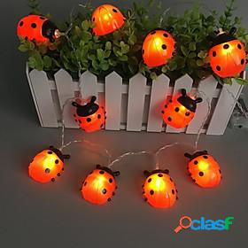 Ladybugs led string lights fairy light 3m 20leds 1.5m 10leds battery powered outdoor garden fence christmas halloween garland holiday decorative