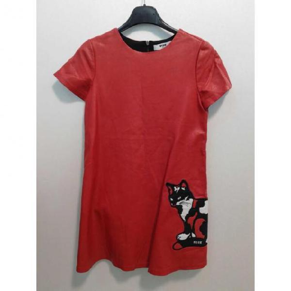 Abito bambina msgm ecopelle rosso con gattino taglia 10a