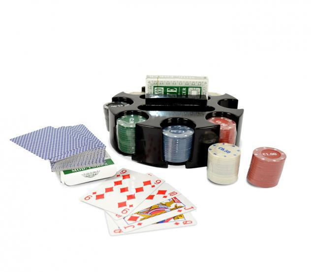 Set poker game 027035 cigioki 2 mazzi di carte 96 fiches con