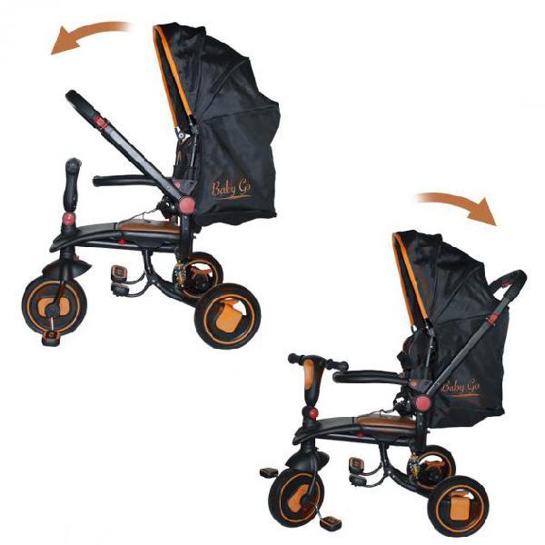 Triciclo modulare reversibile babygo con sedile in pelle