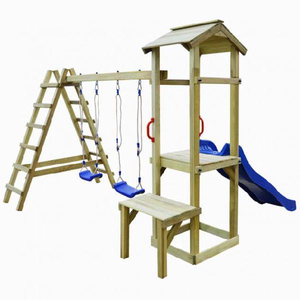 Vidaxl casa giochi scivolo scale altalene 286x228x218cm