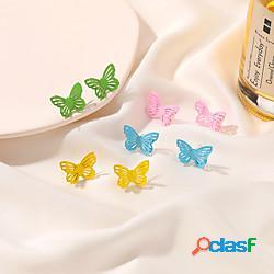 Per donna orecchini a bottone orecchino fantasia con animale cartone animato di tendenza di moda coreano dolce orecchini gioielli blu / giallo / rosa per compleanno strada regalo appuntamento