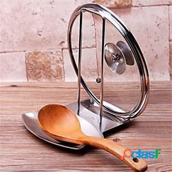 Vassoio portaoggetti in acciaio inox pentola coperchio coperchio rack supporto cucchiaio stufa organizzatore stoccaggio accessorio cucina lightinthebox