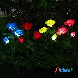 Lampada da giardino a led solare da esterno a forma di rosa luci da prato impermeabili da giardino per matrimoni decorazione da patio sentiero lampada da paesaggio a led lightinthebox