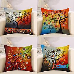 Fodera per cuscino in cotone / lino 4 pezzi, floreale florealeamp;piante cartone animato rustico quadrato tradizionale classico lightinthebox