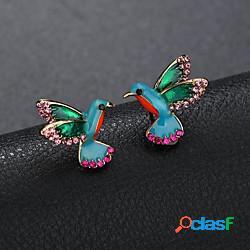 Per donna orecchini a bottone scultura mini uccello donne cartone animato stile sveglio strass orecchini gioielli arcobaleno per quotidiano per uscire 1 paio lightinthebox