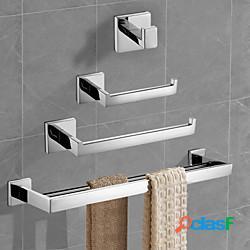 Set di accessori per il bagno in acciaio inossidabile un abs di grado contemporaneo con portasciugamani porta carta igienica torre rack e gancio per accappatoio argentato a parete 4 pezzi lig