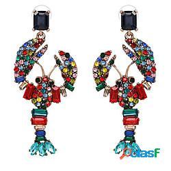 Per donna orecchini a bottone con animale cartone animato di moda diamanti d'imitazione orecchini gioielli colore arcobaleno / bianco per festival 1 paio miniinthebox